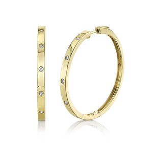 YELLOW GOLD DIAMOND HOOP EARRING - Millo Jewelry