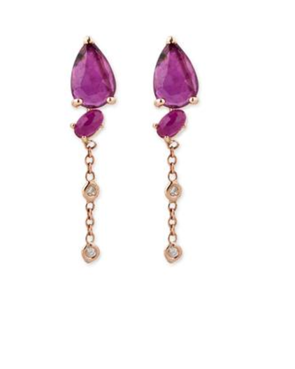 "Jacquie Aiche ""2 Diamond Ruby Teardrop Earrings"""