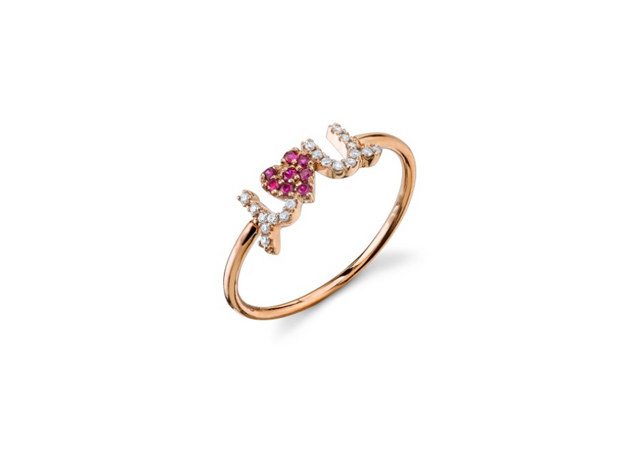 "Sydney Evan ""Rose-Gold & Diamond I Heart U Ring With Rubies"""
