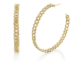 "Shay Fine Jewelry ""Essential Pave Link Hoops, 50Mm'' - Millo Jewelry"