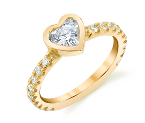 Solitaire Heart Pinky Ring