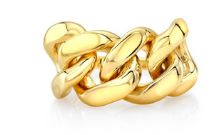 14K Gold Halfway Cuban Link Ring - Millo Jewelry