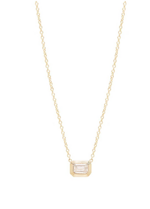 "Zoe Chicco ""14K Small Emerald Cut Diamond Necklace"""