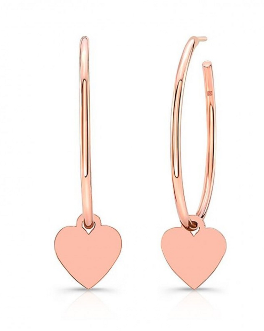 14K Rose Gold Floating Heart Hoop Charms