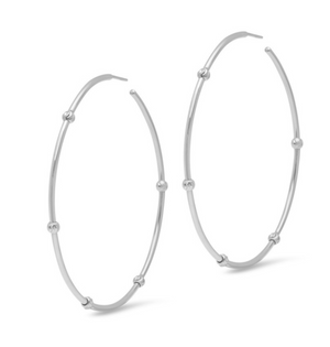"Ruby Stella ""14K White Gold 2"" Diamond Cut Bead Hoop Earrings"""