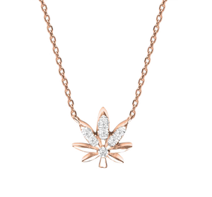 Leaf Chain Gold and Diamonds Necklace