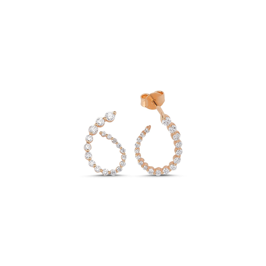 Graduated Diamond Curl Earrings