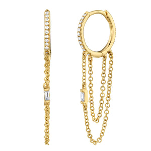 14K Yellow Gold Diamond Baguette Huggie Earring