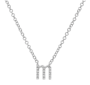 Lowercase Pave Initial Necklace