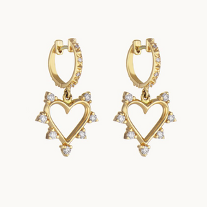 Open Heart Spiked Earrings