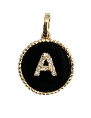 Diamond Initial Round Charm - Millo Jewelry
