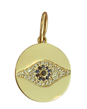 Disc Pave Evil Eye - Millo Jewelry
