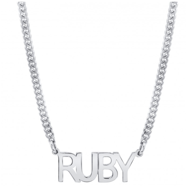 14K Gold Mini Cuban Link Personalized Block Nameplate Necklace