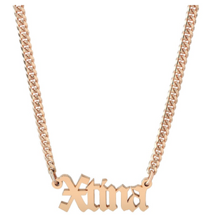 14K Gold Mini Cuban Link Personalized Old English Nameplate Necklace
