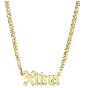 14K Gold Mini Cuban Link Personalized Old English Nameplate Necklace - Millo Jewelry