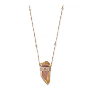 TANGERINE AURA QUARTZ MARQUISE DIAMOND CAP CRYSTAL SMOOTH BAR NECKLACE - Millo Jewelry