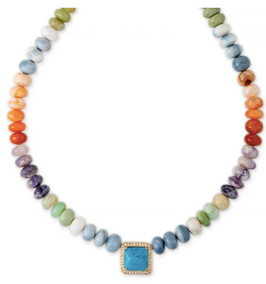 PAVE TURQUOISE SQUARE CENTER MULTI COLOR OPAL BEADED NECKLACE