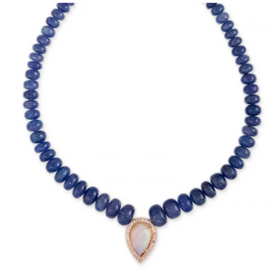 PAVE OPAL TEARDROP CENTER TANZANITE BEADED NECKLACE - Millo Jewelry