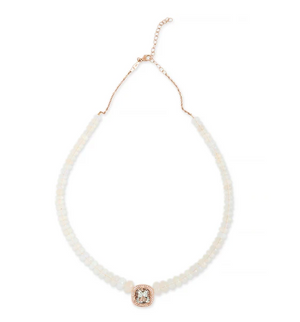 PAVE AQUAMARINE CENTER FACETED OPAL BEADED NECKLACE - Millo Jewelry