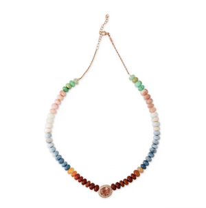 PAVE TOURMALINE OVAL CENTER MULTI COLOR OPAL BEADED NECKLACE
