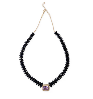 PAVE AMETHYST RECTANGLE CENTER FACETED SAPPHIRE BEADED NECKLACE - Millo Jewelry