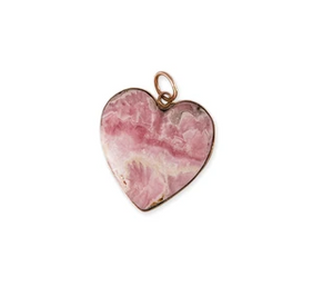 Large Flat Smooth Pink Agate Heart Charm