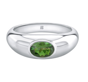 14K Gold Bezel Set Green Tourmaline Dome Ring - Millo Jewelry