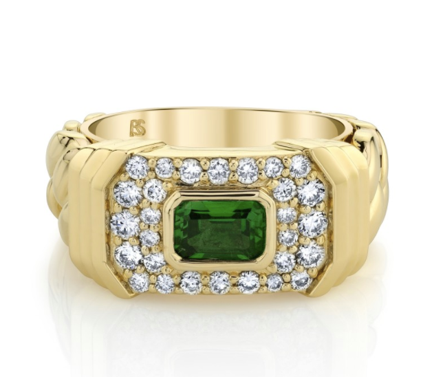 14K Yellow Gold Diamond Green Tourmaline Link ring - Millo Jewelry