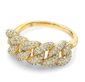 14k Gold Pave Diamond Cuban Link Ring - Millo Jewelry