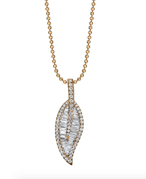 LARGE LEAF DIAMOND NECKLACE - Millo Jewelry
