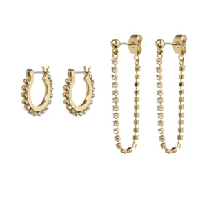 The Diamonte Hoops + Chain Stud Set - Millo Jewelry