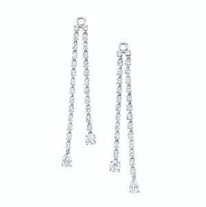 Double draped rope earrings w/ round & pear diamond drops