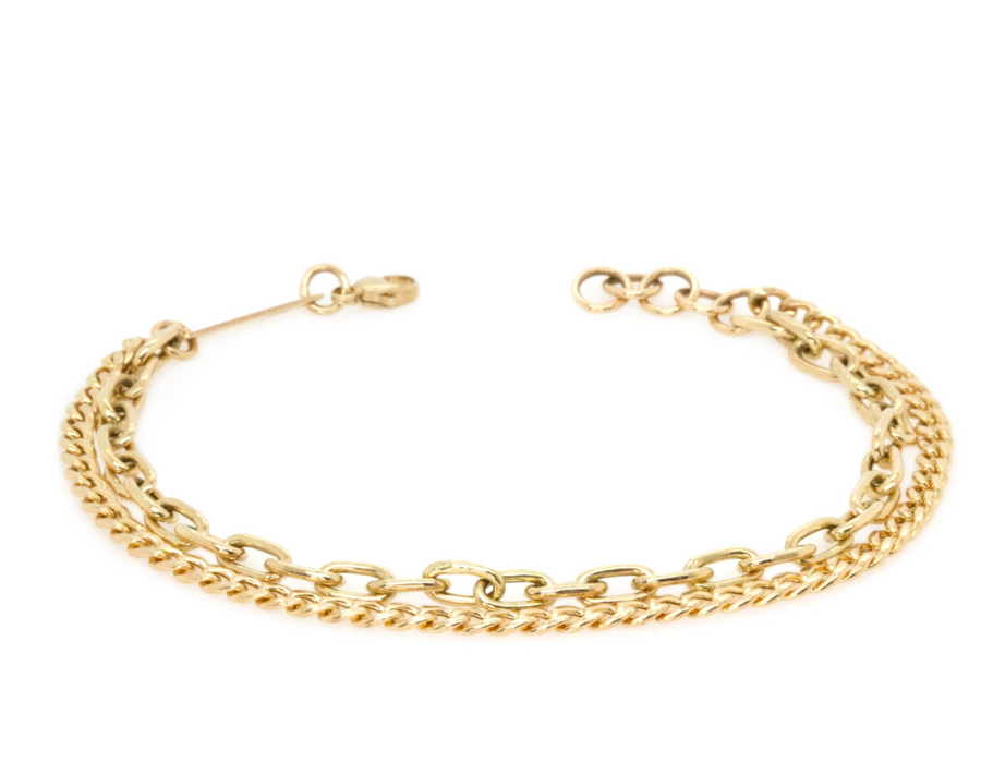 14K GOLD MEDIUM DOUBLE CHAIN BRACELET WITH CURB AND SQUARE OVAL CHAIN