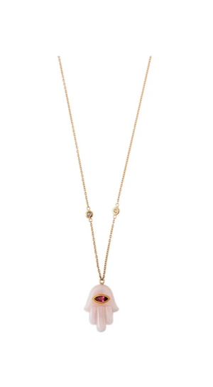 MARQUISE PINK TOURMALINE ROSE QUARTZ HAMSA NECKLACE