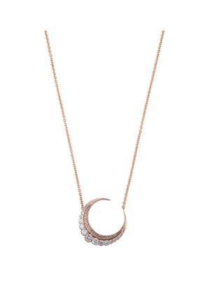 SMALL DIAMOND CRESCENT MOON NECKLACE - Millo Jewelry