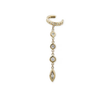PAVE ROUND + MARQUISE DIAMOND DROP EAR CUFF