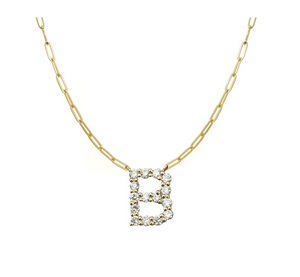 Large Diamond Initial Paperclip Necklace - Millo Jewelry