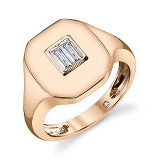 BAGUETTE DIAMOND PINKY RING