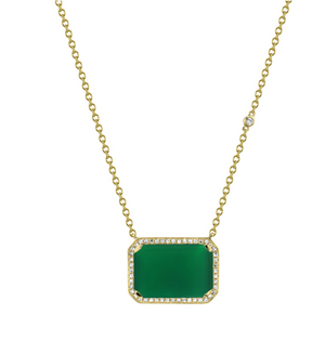 Green Onyx Portrait Pendant Necklace