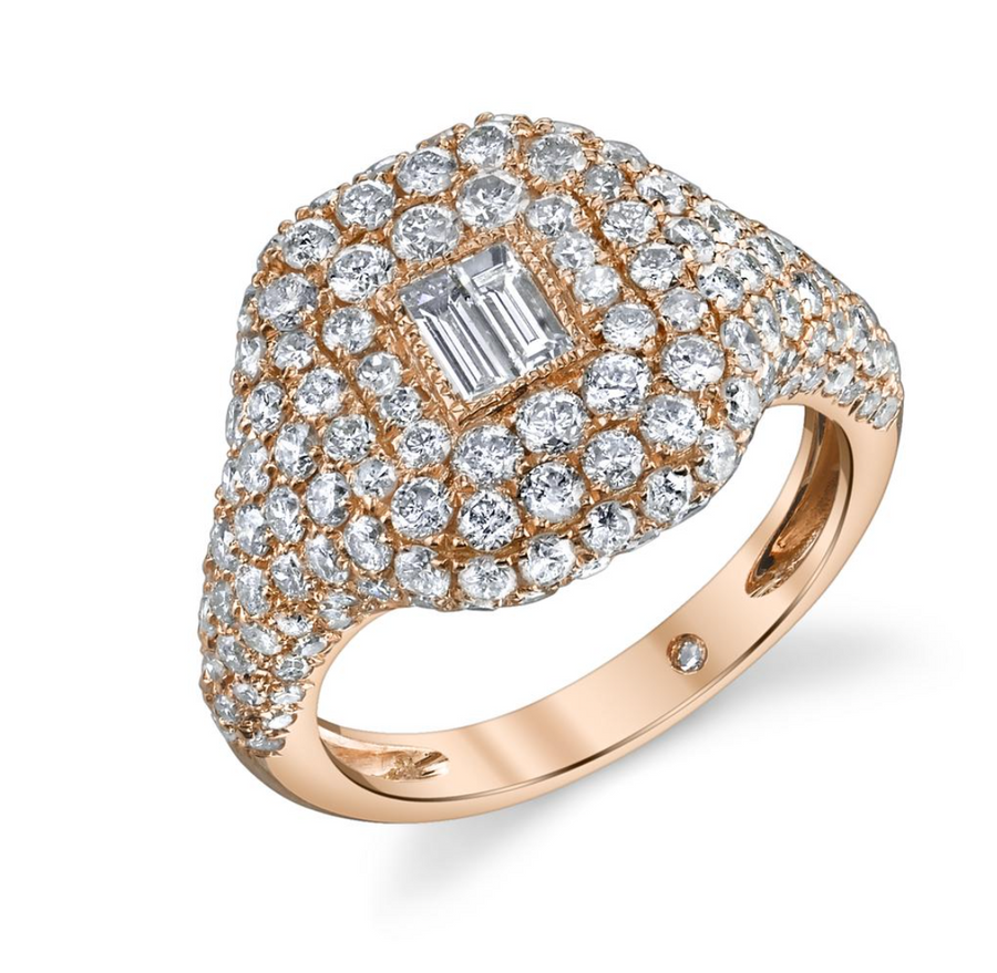 pave baguette pinky ring