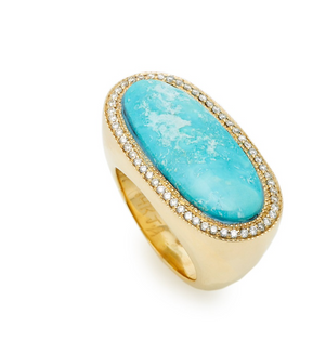 14K Yellow Gold Sideways Turquoise Ring