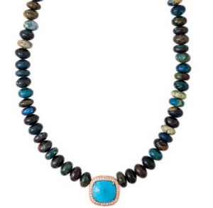 Pave Diamond Turquoise Rounded Square Center Dark Multi Blue Opal Beaded Necklace