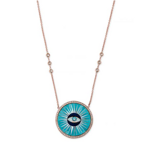 PAVE TURQUOISE INLAY EYE NECKLACE - Millo Jewelry