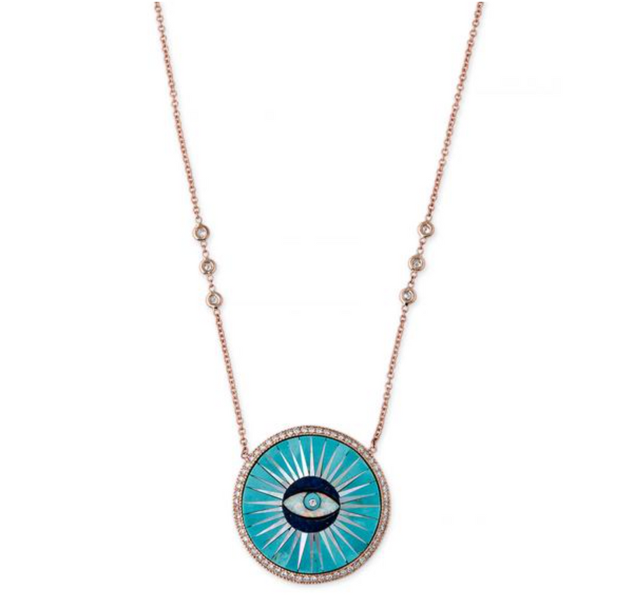 PAVE TURQUOISE INLAY EYE NECKLACE