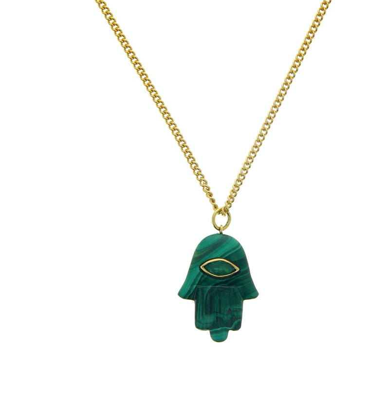 Green Malachite Emerald Marquise Hamsa Charm - Millo Jewelry