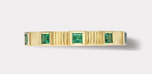 PLEATED FIVE STONE BAND - CARRE CUT EMERALDS - Millo Jewelry
