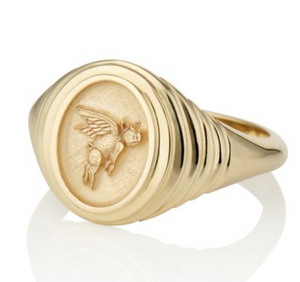 TIERED FANTASY SIGNET - FLYING PIG - Millo Jewelry