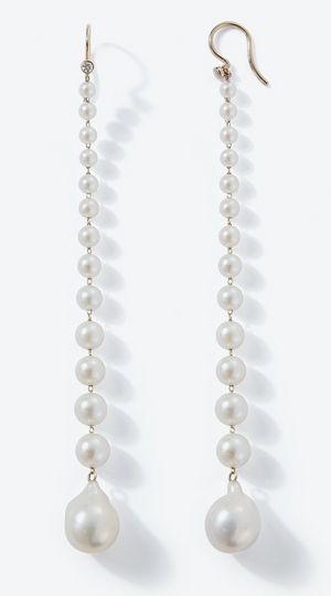 Sea of Beauty Collection. Graduated Pearl with diamond Shoulder Duster Earrings