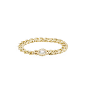 14K SMALL CURB CHAIN RING WITH FLOATING DIAMOND | IN STOCK - Millo Jewelry