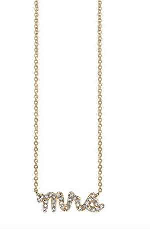 Gold & Pavé Diamond Mrs Necklace - Millo Jewelry
